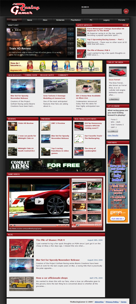 The Racing Gamer Web Design Picture